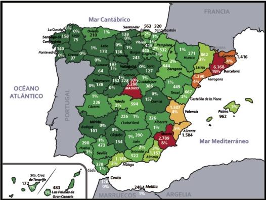 Carte de la radicalisation en Espagne