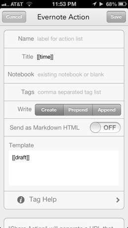 New Evernote Action screen