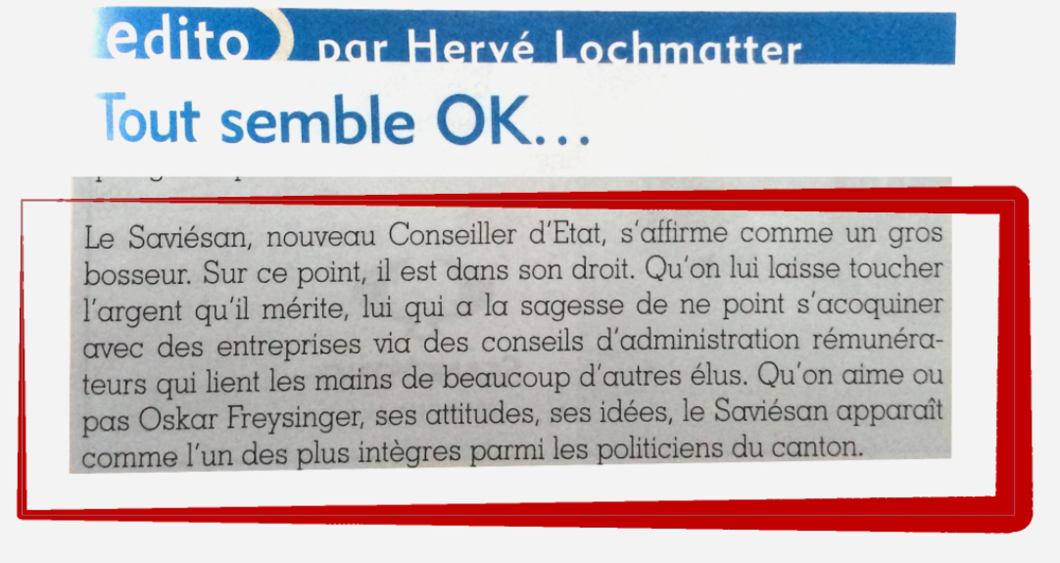 Edito Journal de Savièse