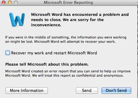 Microsoft Error Reporting