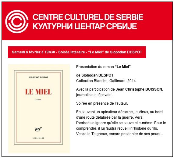 Invitation CCS - Le Miel, 8.2.14
