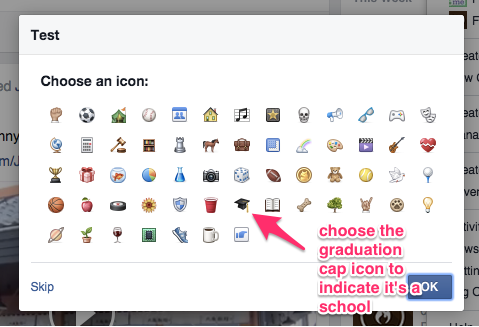 A screenshot telling you to choose the graduation icon, which is on the forth row of icons, seven icons from the left.