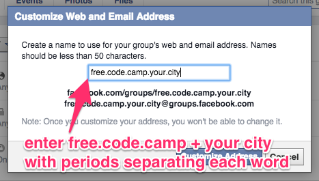 a screenshot telling you to enter free.code.camp.yourcitysname with each word seperated by periods.