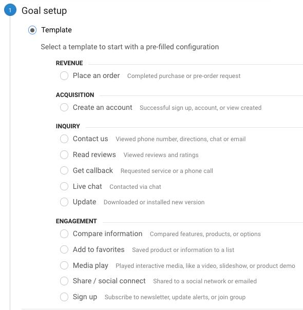 Analytics goal setup