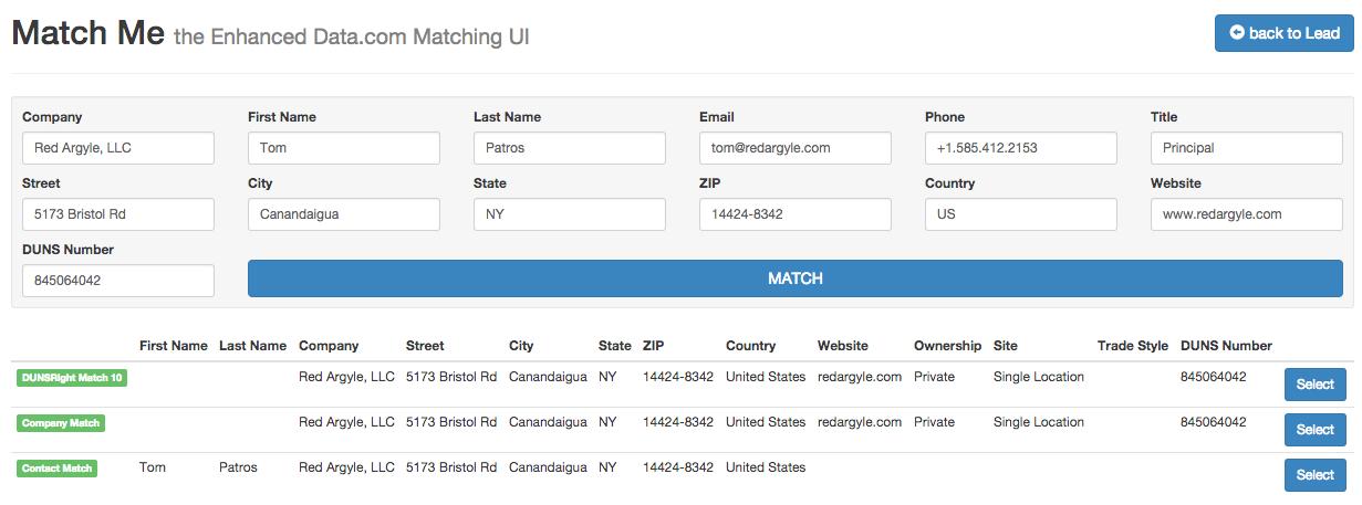 Match Me for Data.com