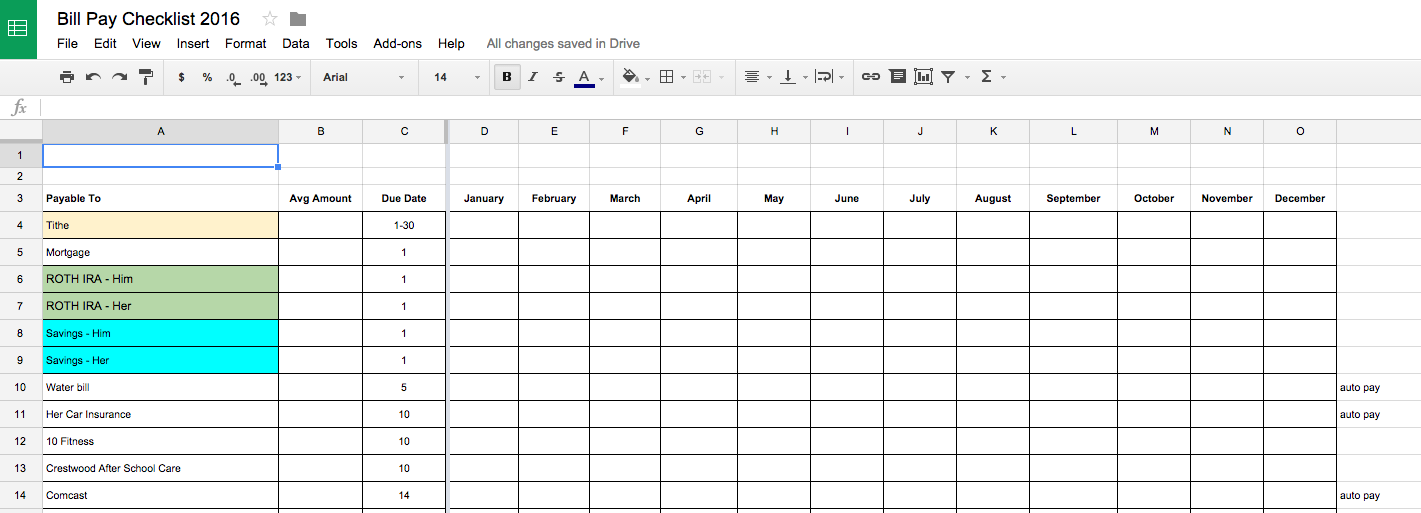 Bill Pay Checklist saved in Google Drive