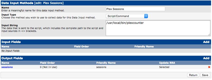 Plex Sessions Data Input Method