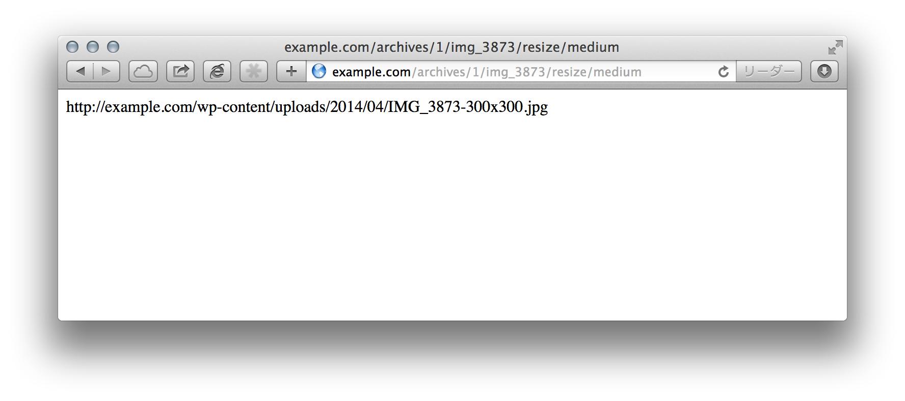 アタッチメントページの末尾に/resize/mediumを追加して、URLを取得できる
