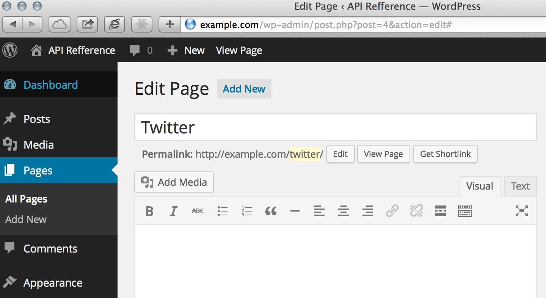 twitterというスラッグを持つ固定ページを作成