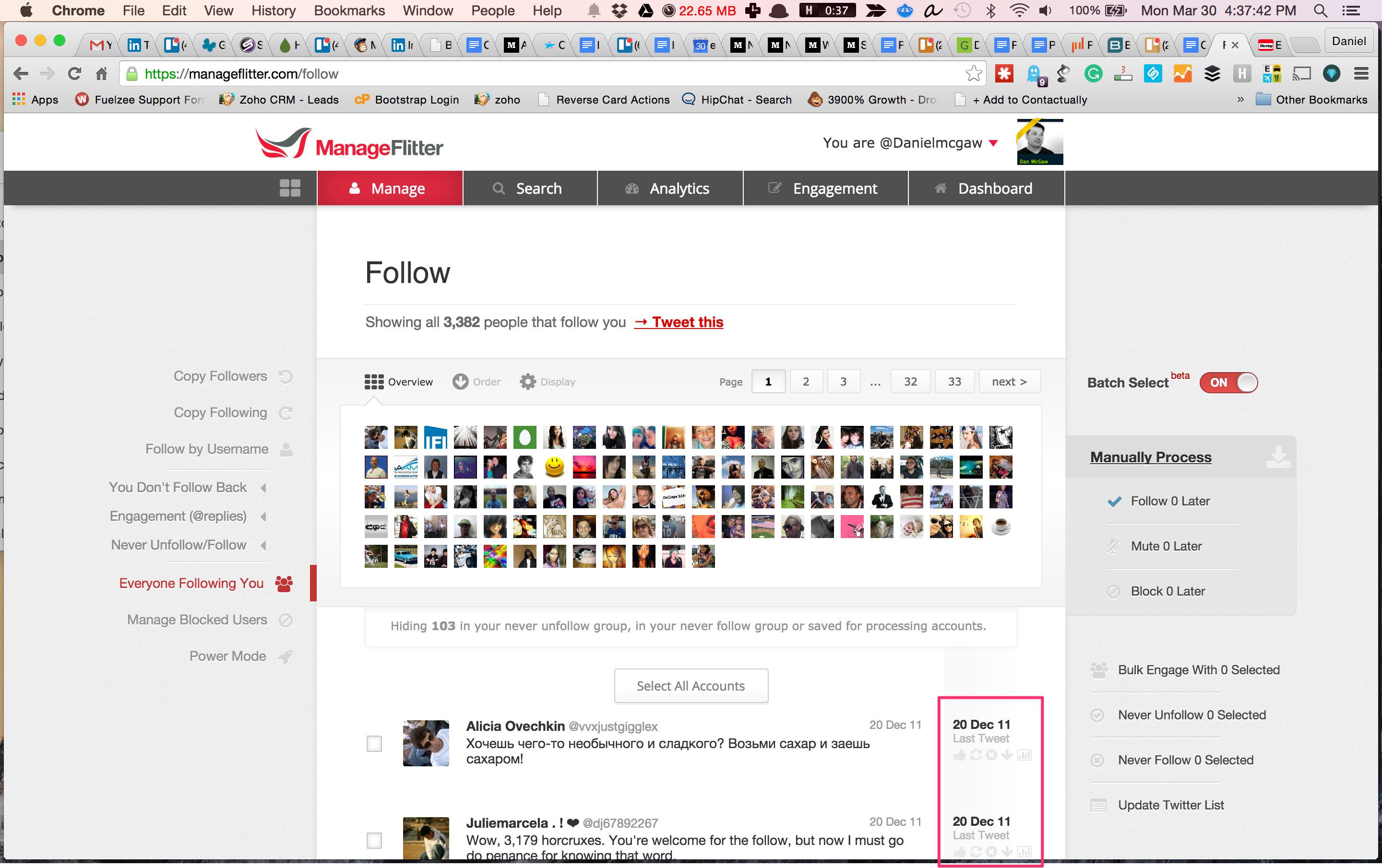 manageflitter and how to select people to unfollow