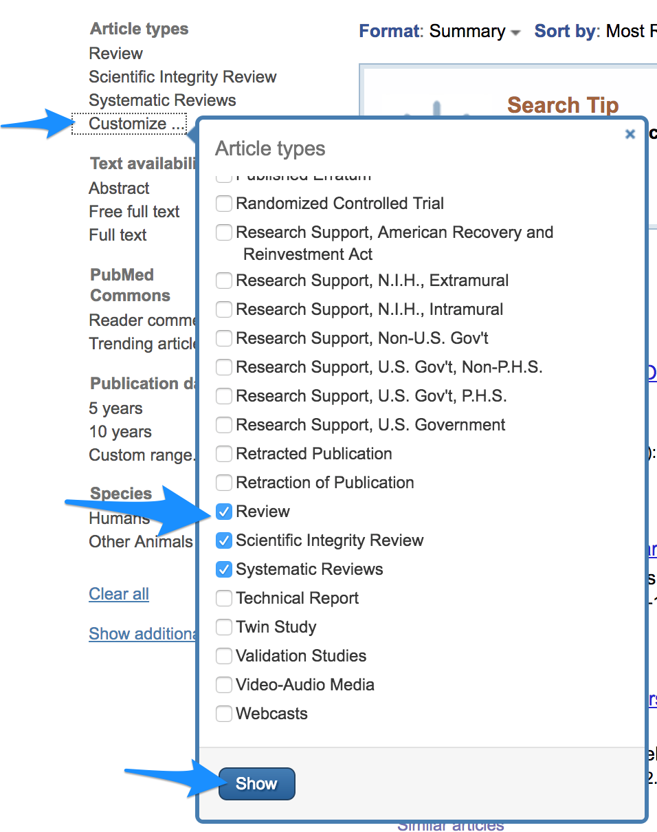 Filter your results for review articles in PubMed.