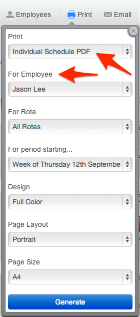 Print employee shift schedule