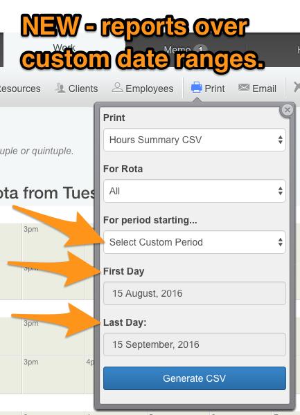 CSV shift report over custom date range on Rotaville