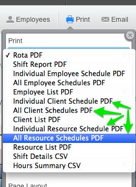 Print Client Schedules