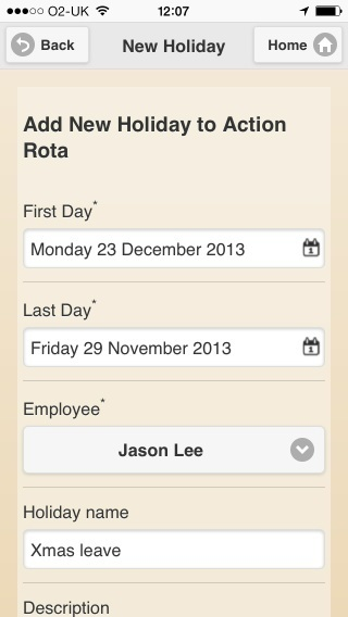 add holiday to the rota