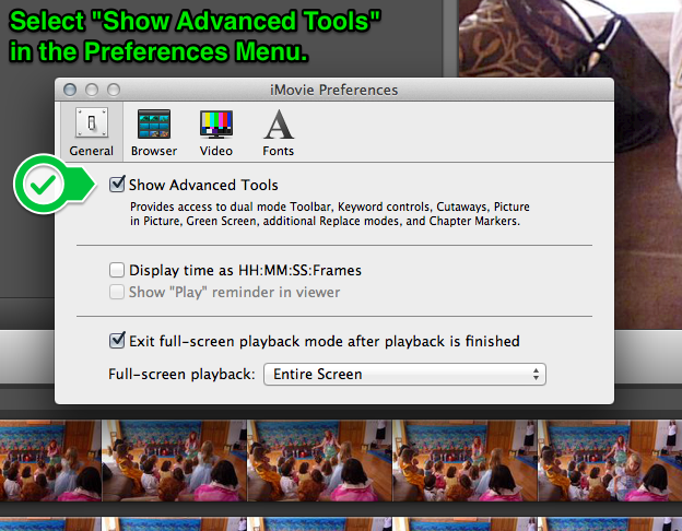 Advanced Tools from Preferences Menu