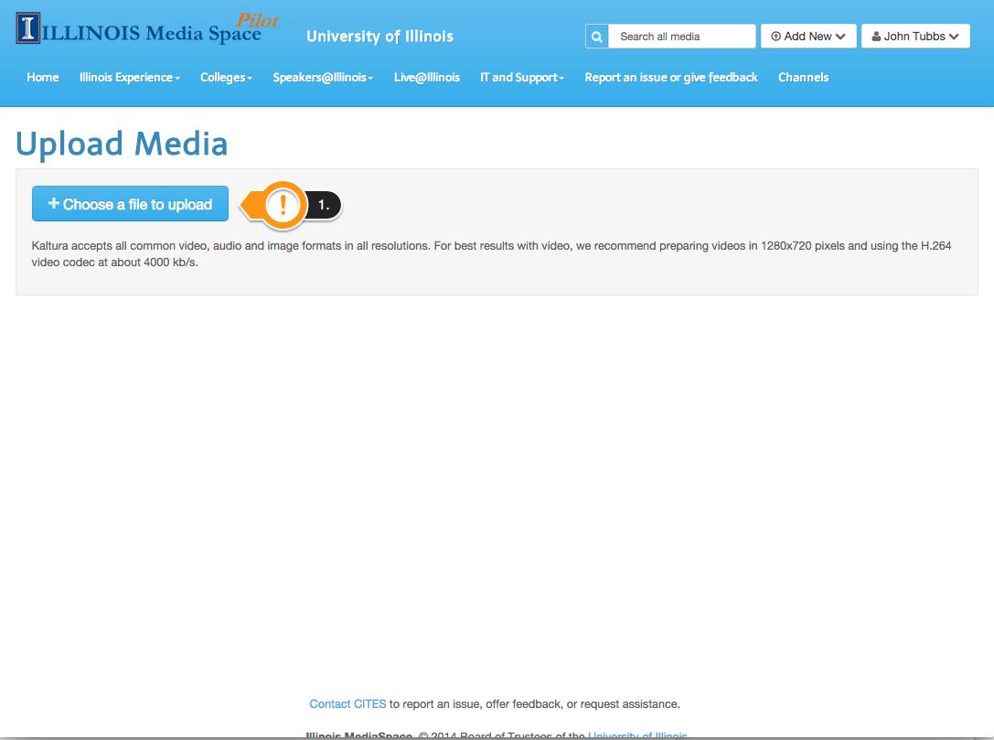 Upload Media Page - Click Choose a file to upload