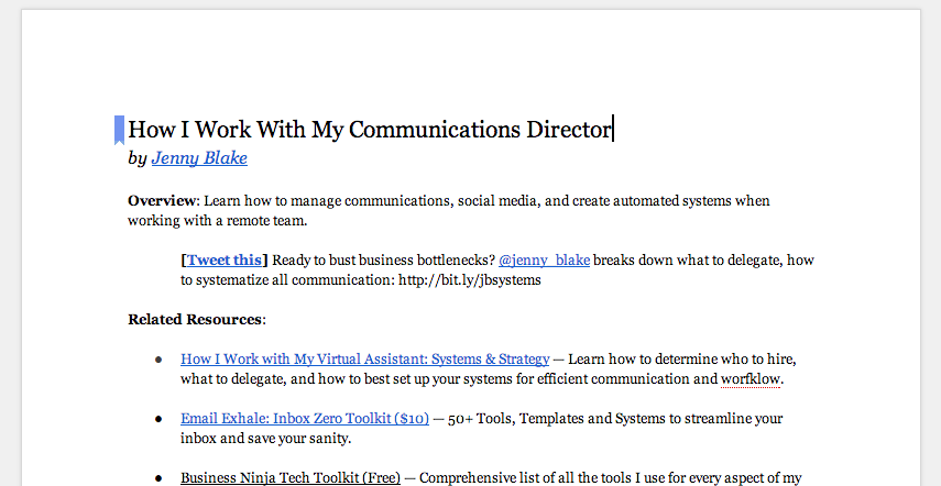 Google Doc: How I Work with My Communications Director