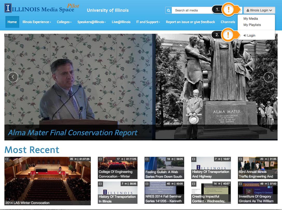 Mediaspace homepage