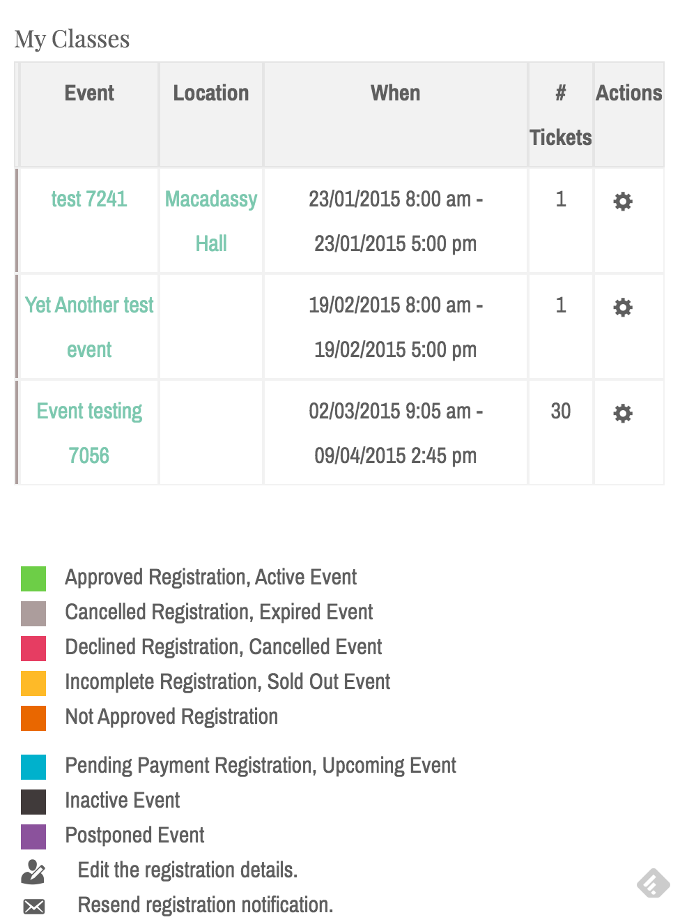 My events table