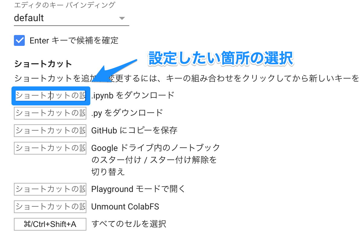Google Colab 独自のショートカットキー