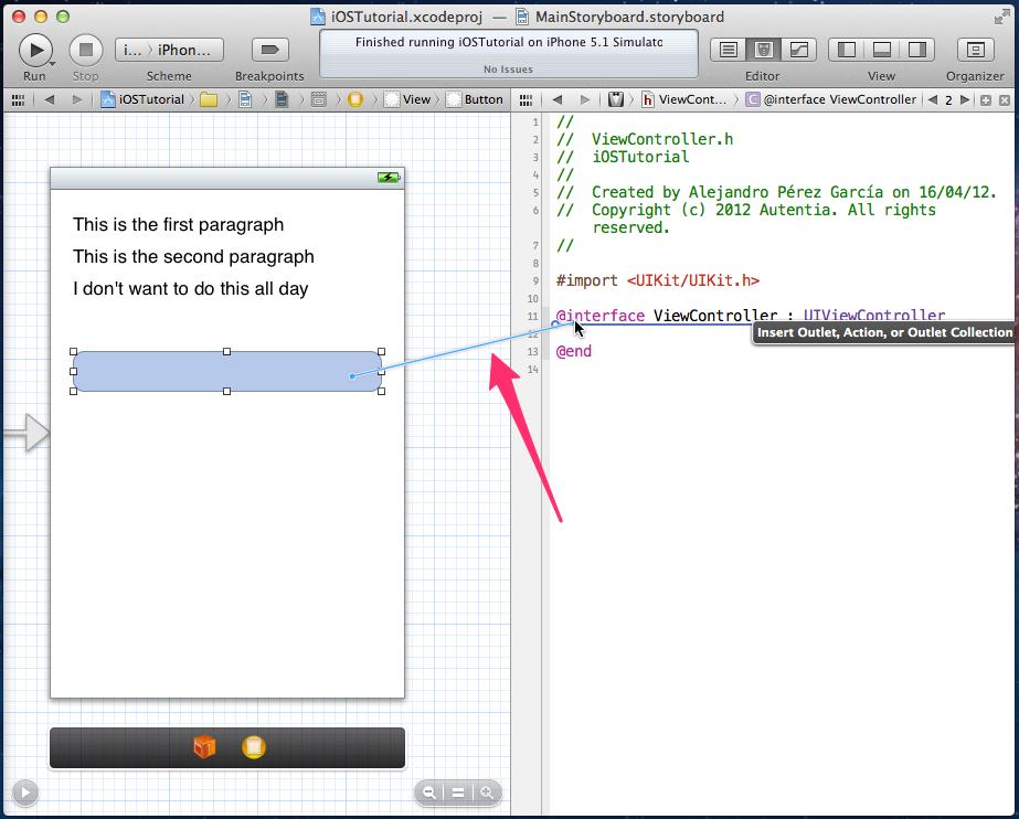 Crear Outlet de un botón en Xcode