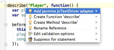 Añadir el adaptador de Jasmine para conseguir auto completado