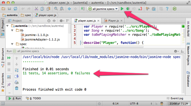 Ejecutando los tests de Jasmine con jasmine-node en el IntelliJ IDEA 12