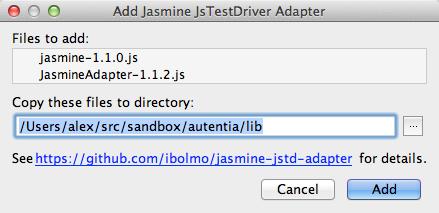 Indicando donde guardar las librería para el adaptador de Jasmine de JSTestDriver