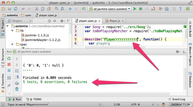 Ejecutando jasmine-node en cuento cambia un fichero en IntelliJ IDEA 12