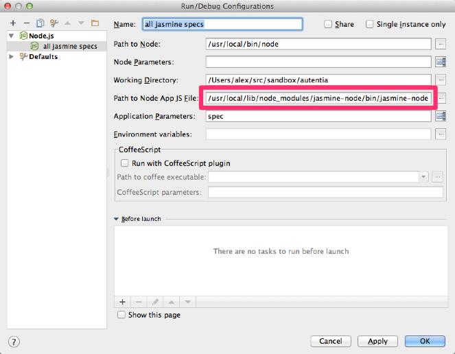 Configuración del runner de Node.js para lanzar los tests de Jasmine