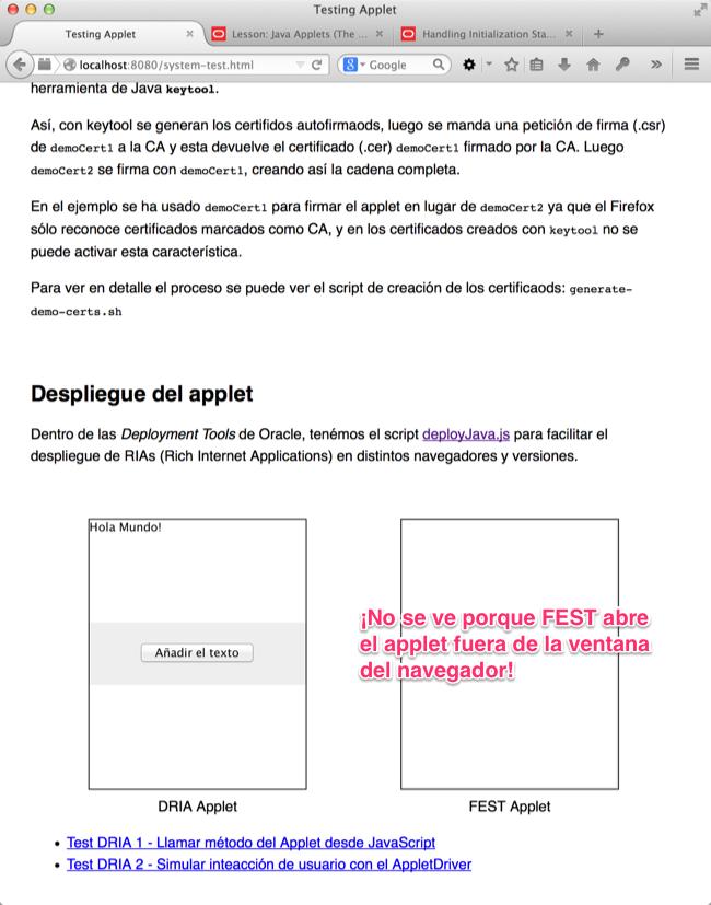 Pagina para la prueba del applet