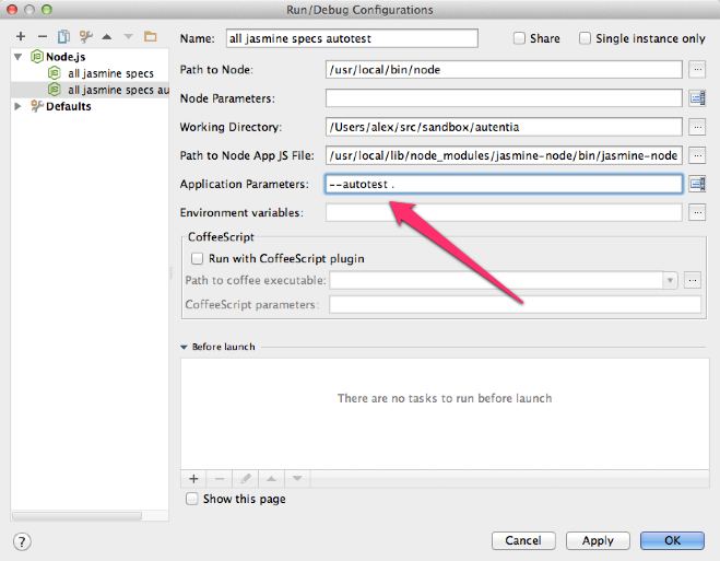 Configuración del runner de Node.js para lanzar automáticamente los tests de Jasmine cuando hay cambios en el código
