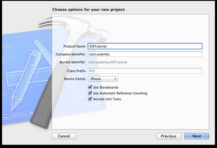 Indicar las características de un nuevo proyecto de Xcode