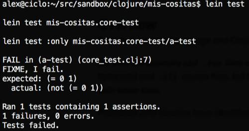 Ejecutar tests de Clojure con Lein