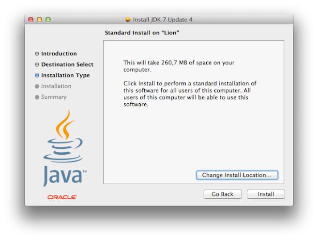 Install JDK 7 Update 4 - Tipo de Instalación