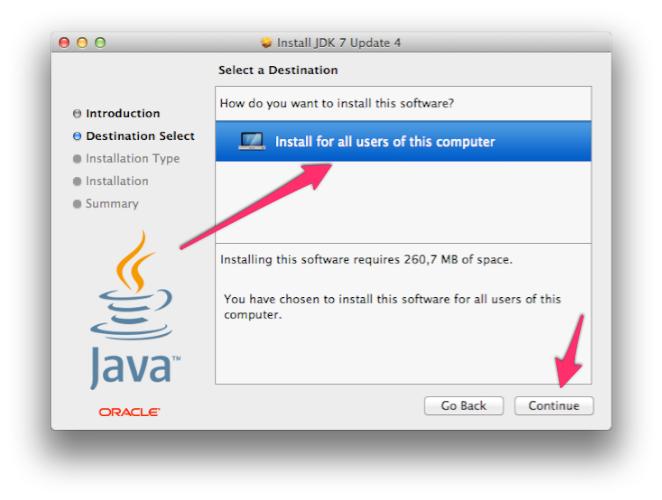 Install JDK 7 Update 4 - Instalación, selección del destino