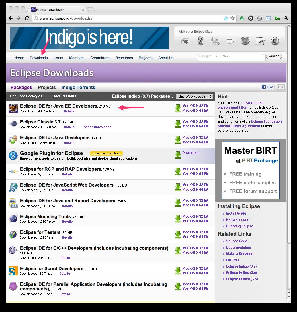 Eclipse Indigo download page