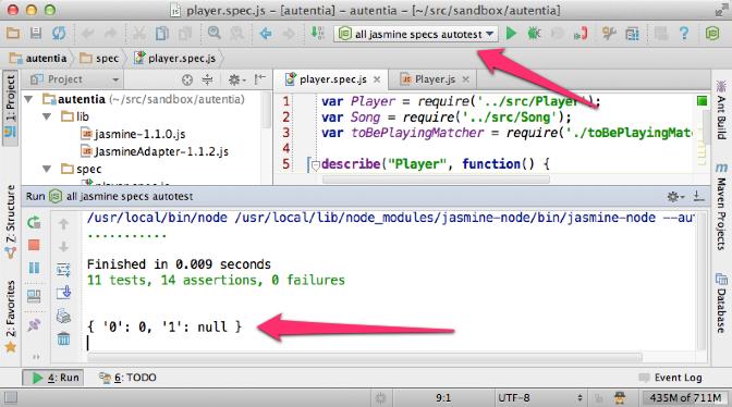 Ejecutando jasmine-node de forma automática en IntelliJ IDEA 12