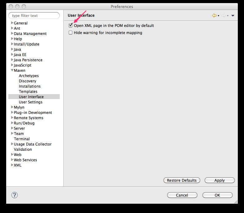 Eclipse m2e User Interface Preferences