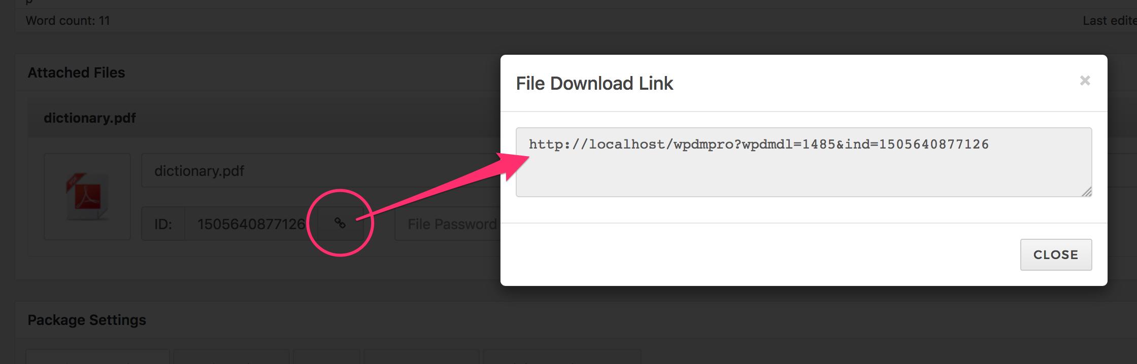 individual file download link