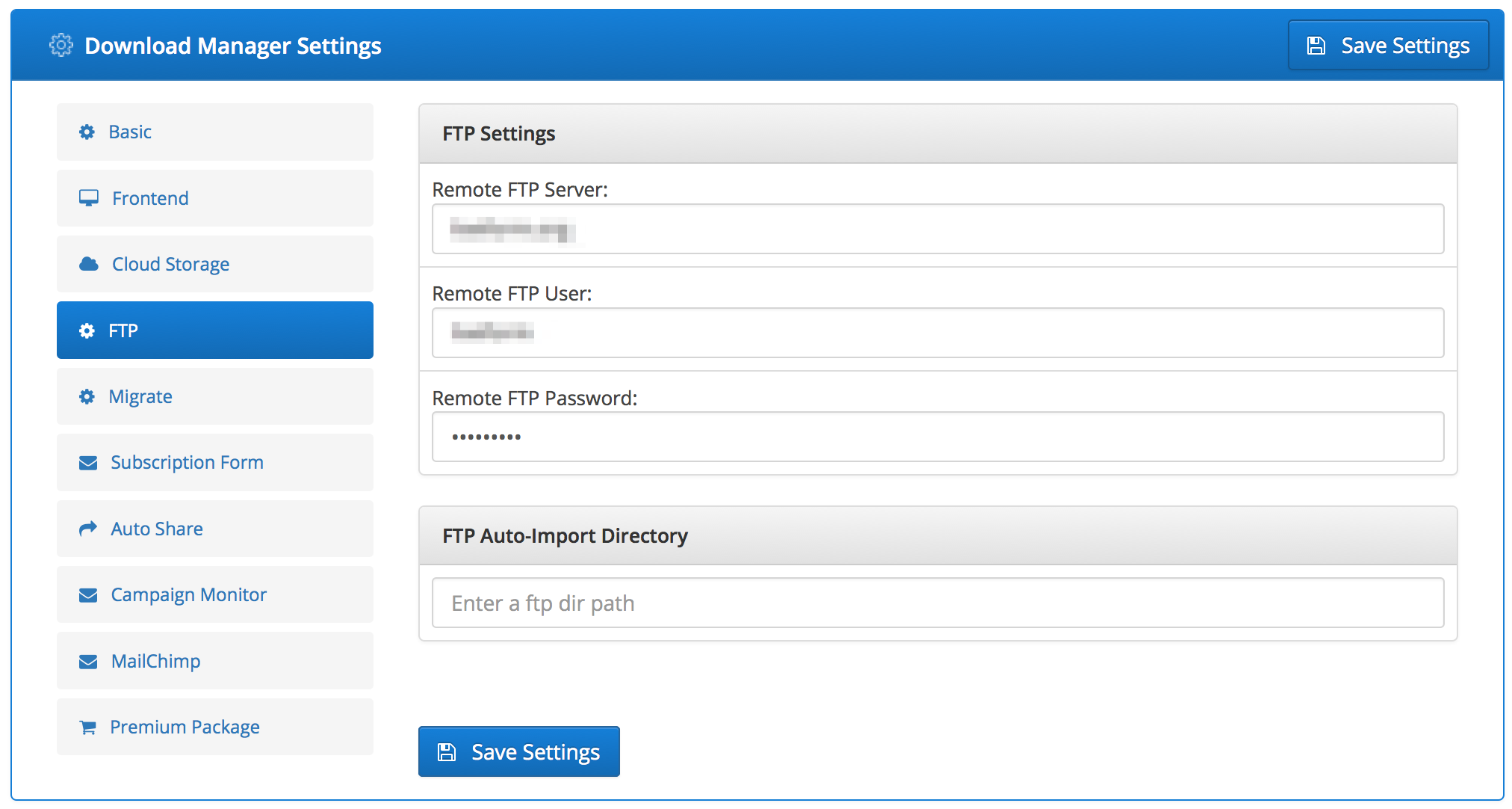 Admin Options: Remote FTP Add-on