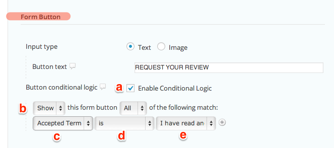 gravity forms button conditional logic