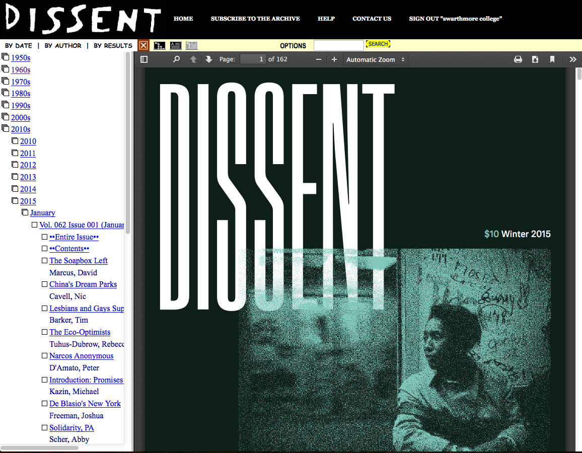 Screenshot of Dissent Archives page. Available issues appear on the left hand tab.