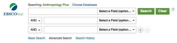 screenshot of anthropology plus database