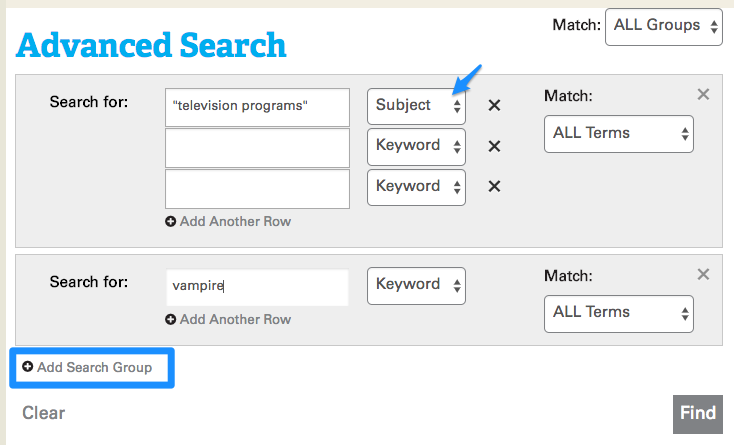 screenshot of advanced search described on this page
