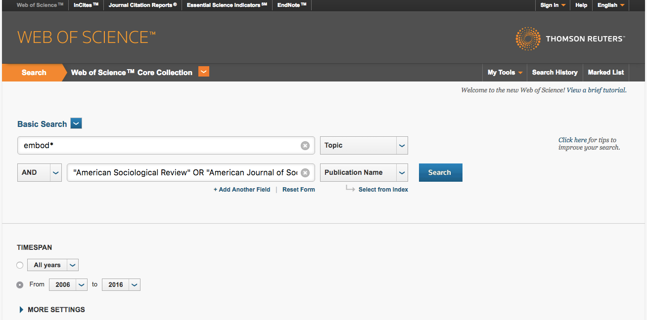web of science screenshot - how to search for articles from multiple journals
