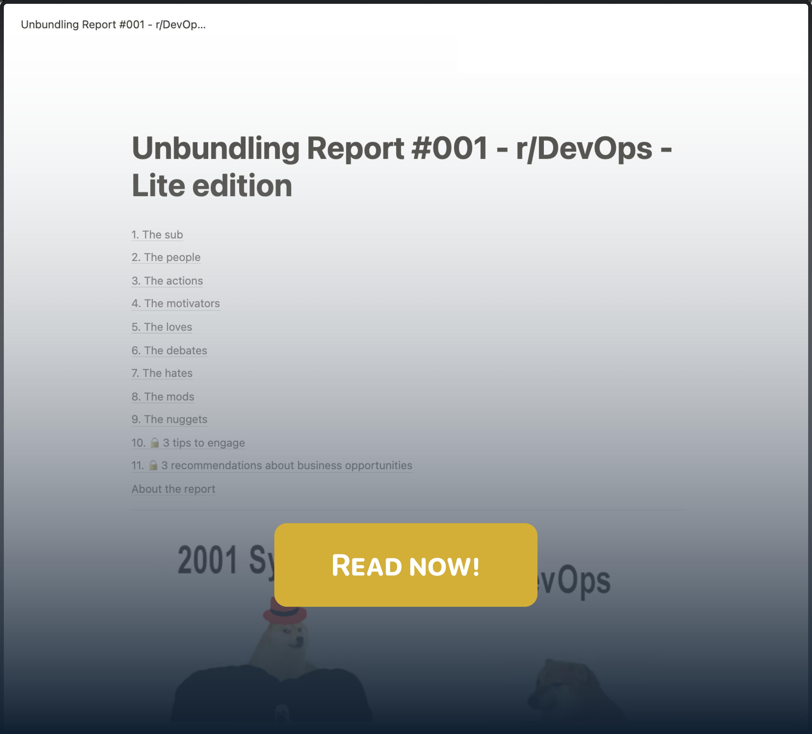 Unbundling Report