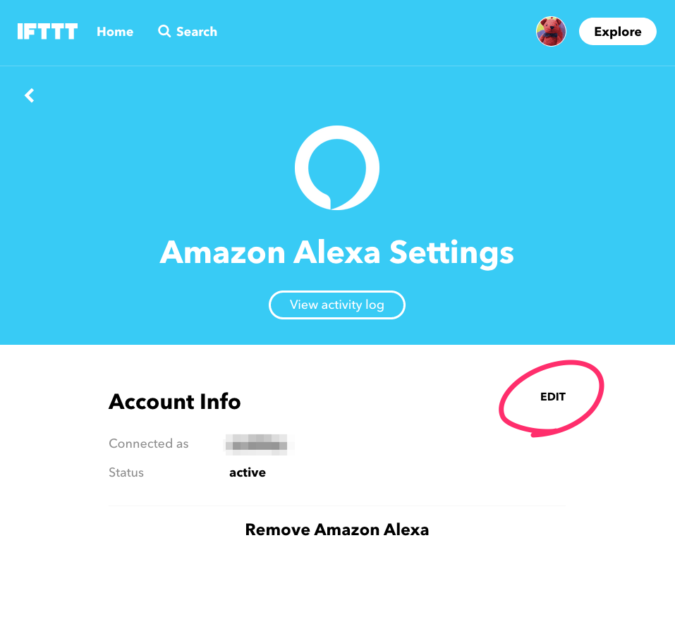 EDITからアカウント連携