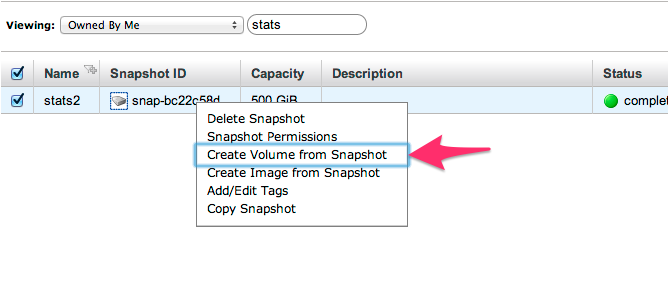 Create drive from snapshot